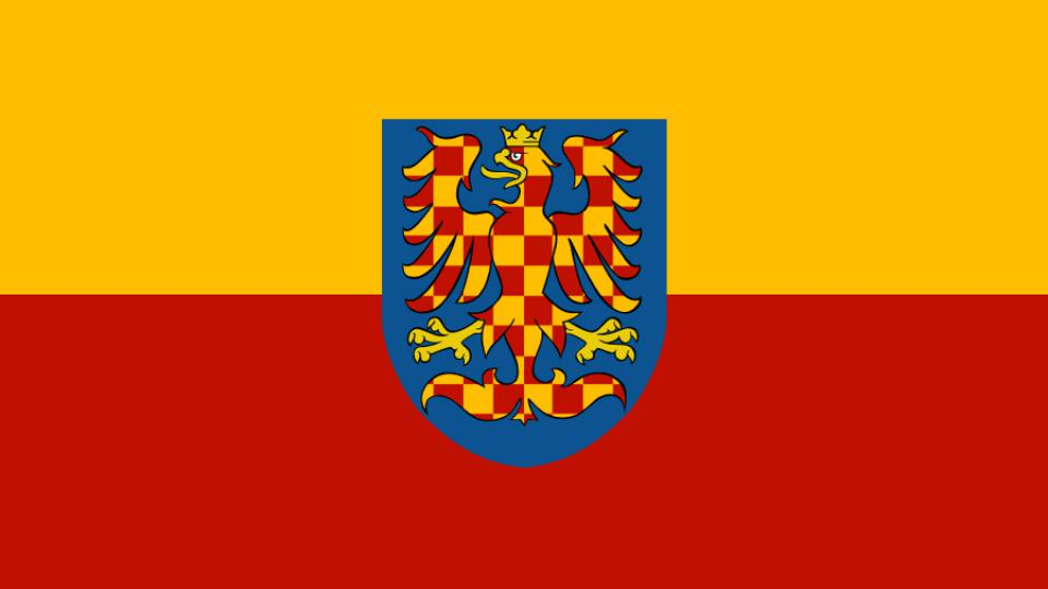 Moravská vlajka. Žlutočervená bikolóra se zlato-červenou variantou zemského znaku