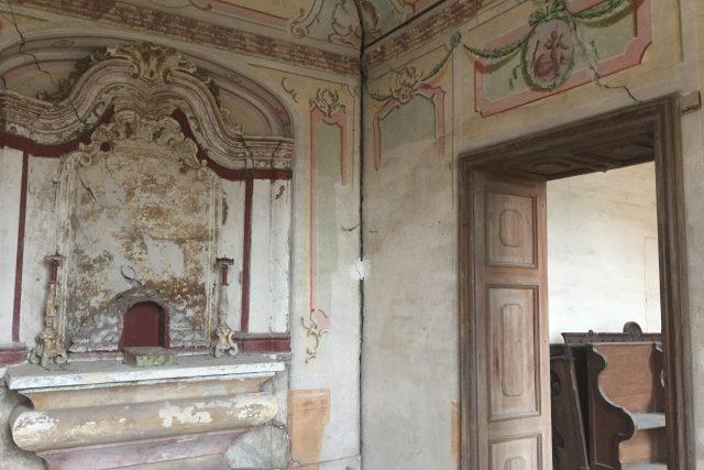 Barokní výzdoba bývalé kaple v prelatuře v Ostrovačicích.