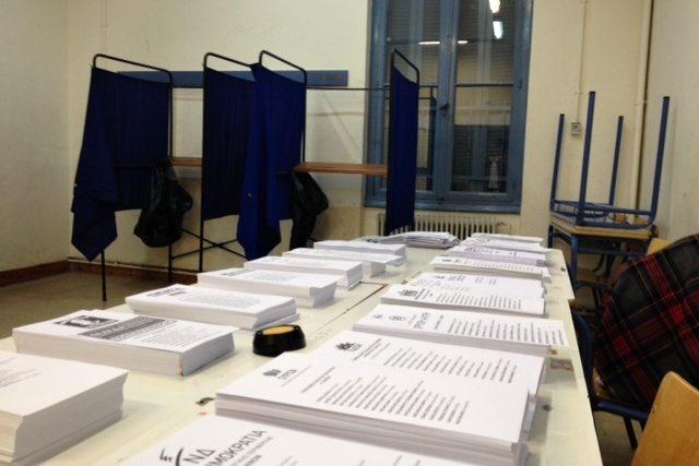 Volební místnost těsně před otevřením