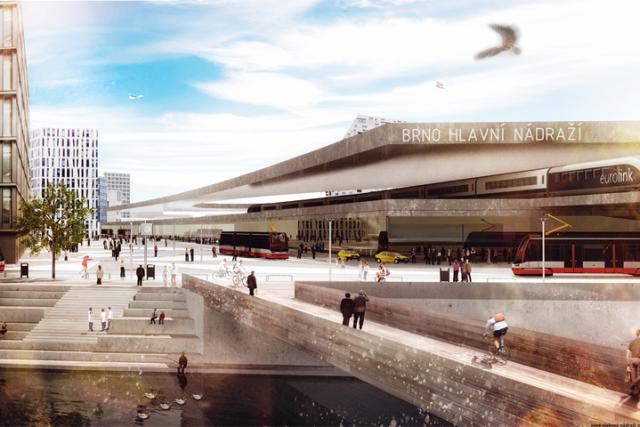 Urbanisté a architekti řeší, jak propojit přístup k řece Svratce v případě, že bude mít Brno nádraží odsunuté jižním směrem. Takto si poradil tým Paltforma Architekti.