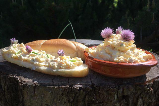 Jednoduchá vajíčková pomazánka se šnytlíkem