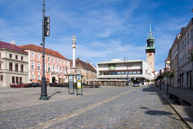 Znojemská radniční věž a Obchodní dům Dyje