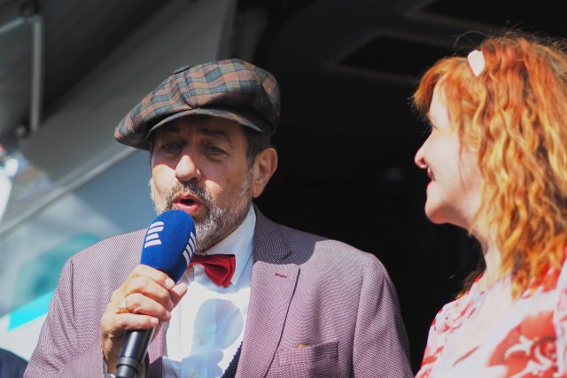 Zdeněk Junák s Jarkou Vykoupilovou   foto: Ludmila Opltová,  Český rozhlas