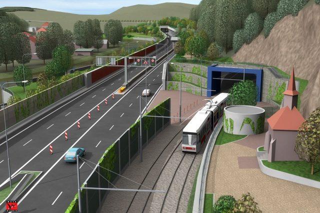 Vizualizace nového tunelu s kaplí v Brně